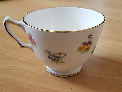 Crown Staffordshire Fine Bone China Teacup Rose Pansy Flowers Made In England