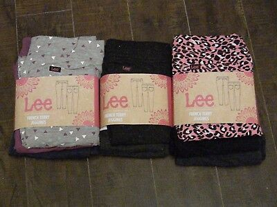 NWT Girls LEE Leggings Jeggings 3 Pack Blue Gray Black Purple Pink 4 5 8 10