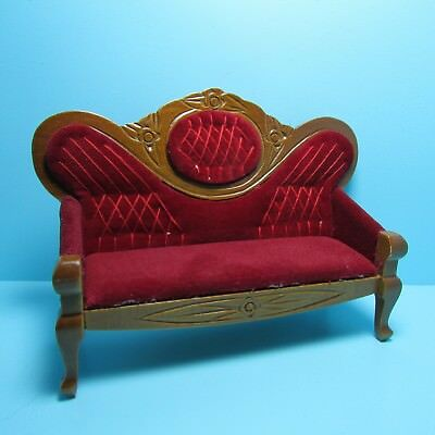 Dollhouse Miniature Victorian Couch Red Velour Fabric and Walnut ~ D5412
