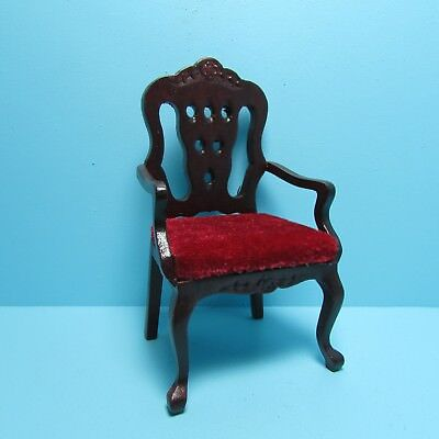 Dollhouse Miniature Victorian Side Chairs with Red Velour Seats & Mahogany T3602