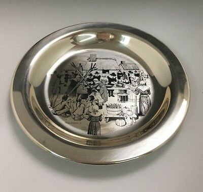 "1972 First Annual Thanksgiving Plate ""Sterling Silver"" Franklin Mint"