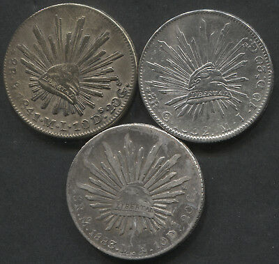 Lot of 3 Mexico 8 Reales VF Details 1832, 1841, 1883