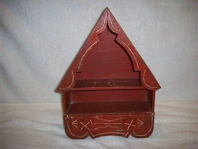 Folk Art Painted Wood Wall Cabinet Comb Candle Pipe What Not Shelf