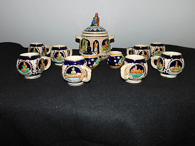 Marzi and Remy.8 German Mugs/1Canister/1Sugar Bowl & 1Creamer. Vintage/Germany
