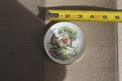 Small antique porcelain plate, signed, Staffordshire, England