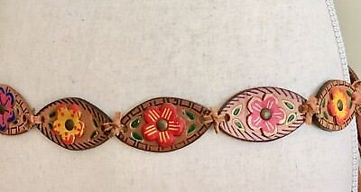 Vintage Leather Belt Hand Painted Flowers Hand Tooled Leather Tie Waist Bohemian