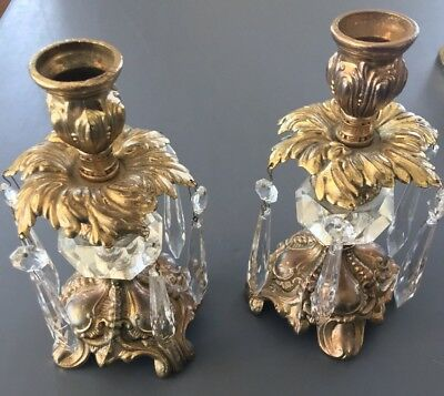 Vintage PAIR of Brass Cast Metal & Faceted Crystal Glass Candle Holders NICE!!