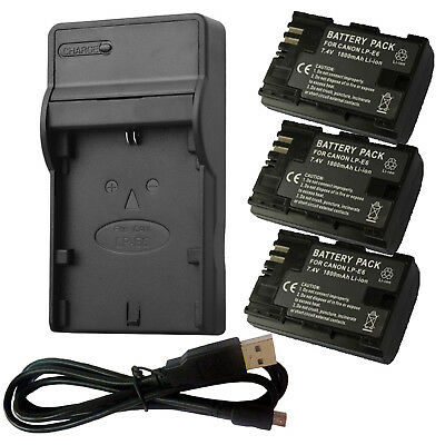 Canon LP-E6 Battery / USB Charger For Canon EOS 5DII 60D 70D 80D LC-E6 LP-E6N