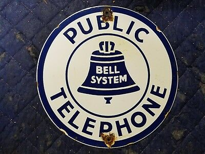 Public Telephone Bell System Porcelain Sign Vintage phone booth decor art