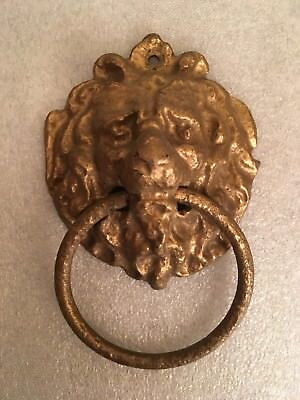 Vintage Gold Painted Cast Iron Door Knocker Lion Head Architectural Ornate