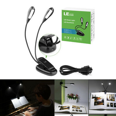 LED Clip on Light, 4-Level Brightness Reading Lamp, USB Rechargeable Book Lights