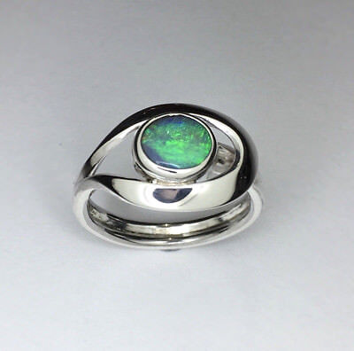 Opal silver ring, Genuine solid lightning ridge opal, Hand made ring.