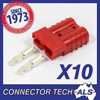 10X GENUINE Anderson RED 50 AMP Plugs 8AWG Contacts 4X4, Caravan Car #6331G14x10