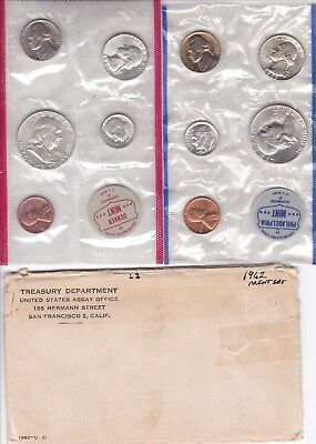 Original 1962 Mint Set Brilliant Uncirculated  P & D 10 Coin Set  W/ Envelope