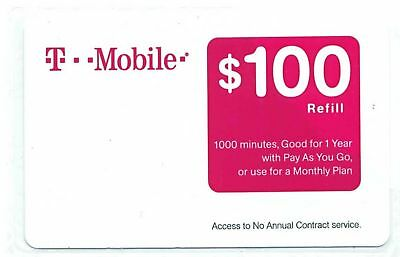 T-MOBILE $100 PREPAID REFILL CARD, Email Delivery