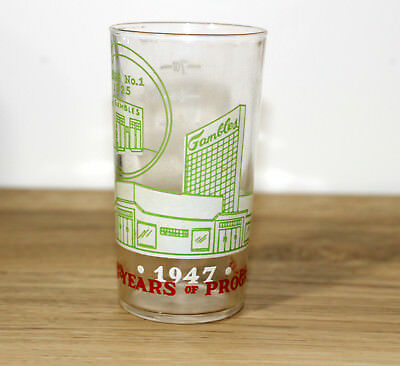 """1947 Gambles Store """"22 Years of Progress"""" 8 oz Glass Measuring Cup.  Xlnt Cond."""