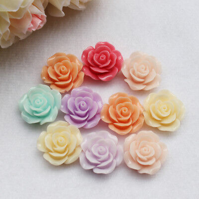 8/10/11/18mm Flat Back Resin Rose Flower Shaped 3D Beads Charms Jewelry Finding