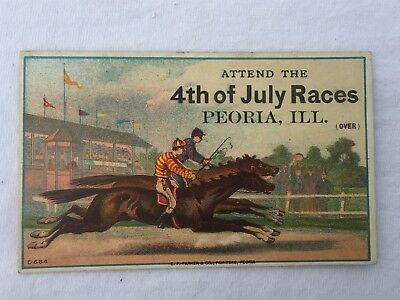 Antique Victorian Trade Card Advertising 4th of July Horse Race Peoria Illinois