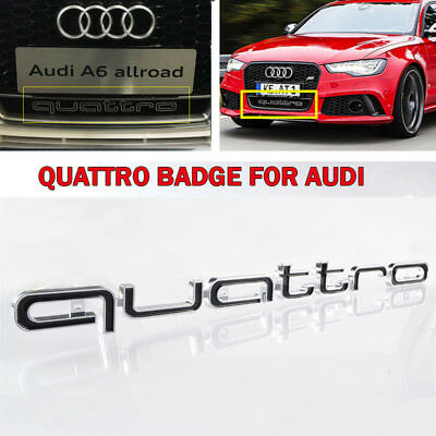 3d schwarz audi quattro grill logo badge emblem abzeichen. Black Bedroom Furniture Sets. Home Design Ideas