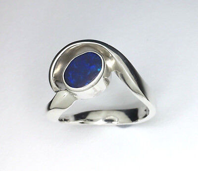 Handmade opal ring, Genuine solid lightning ridge opal