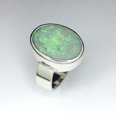 Handmade opal ring, Genunie solid lightning opal ring