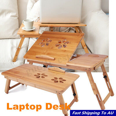Portable Folding Lap Desk Bamboo Laptop Breakfast Tray Bed Table Stand w/ Fan