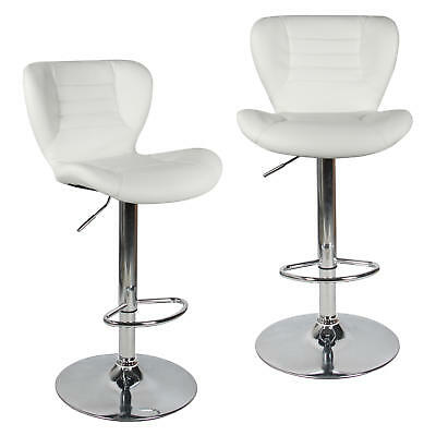 Moustache® 2PK Swivel Leather Adjustable Bar Stool, White