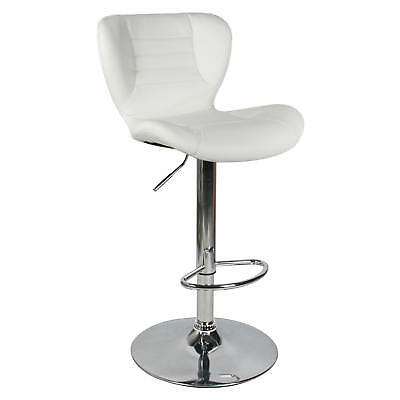Moustache® Swivel Leather Adjustable Bar Stool, White