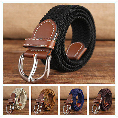 Children Belt Buckle Waist Strap Rugged Classic Jean Belt Canvas Elastic Casual