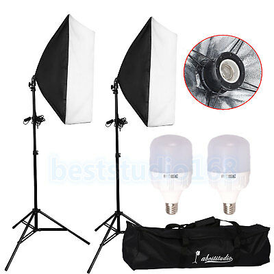 50W Photography Studio Dimmable LED Lights Softbox Lighting Soft Light Stand Set