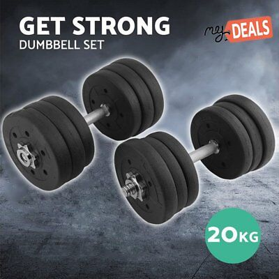 20KG Dumbbell Set Home Gym Fitness Exercise Body Workout Adjustable Weights AUPO