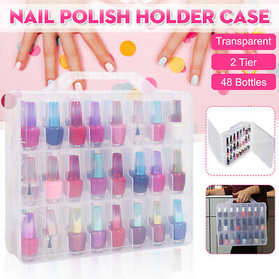 Portable Nail Polish Holder Display Container Case Organizer Storage 48 Lattice