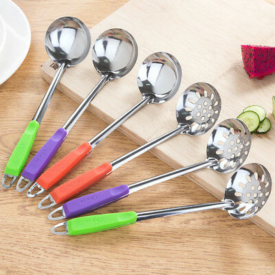Stainless Steel Soup Spoon Ladle Skimmer Colander Filter Kitchen Cooking Tools