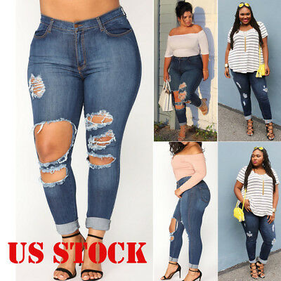 US WOMENS PLUS SIZE Distressed Knee Hole Ripped Stretch JEANS SKINNY TWILL PANTS