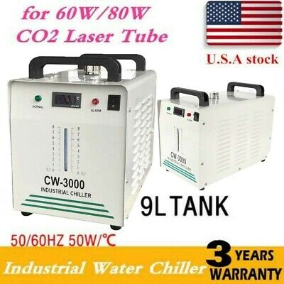 110V Thermolysis Industrial Water Chiller for CNC Engraver 60/80W CO2 Glass Tube