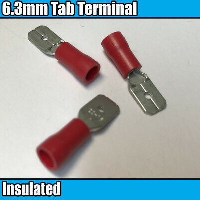 Red male Spade Tab Fully Insulated Electrical 6.3mm Crimp Terminals Cable Wire