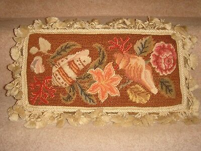 A Beautiful Antique Vintage Tapestry Cushion Gold Velvet Country House