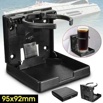 Adjustable Folding Drink Black Cup Mount Holder For Car Boat Marine Caravan Rv