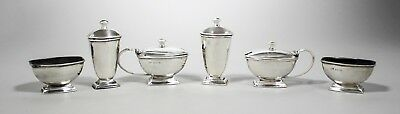 Sterling silver 6pc cruet condiment set pepper shaker salt mustard pot 250g