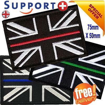 THIN RED LINE PATCH UNION JACK HOOK AND LOOP EMERGENCY SERVICES UK seller