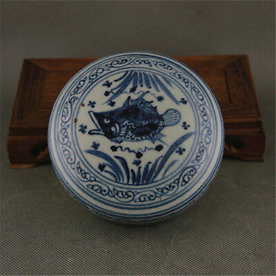 Chinese Old Blue And White Fish Pattern Porcelain Inkpad Box