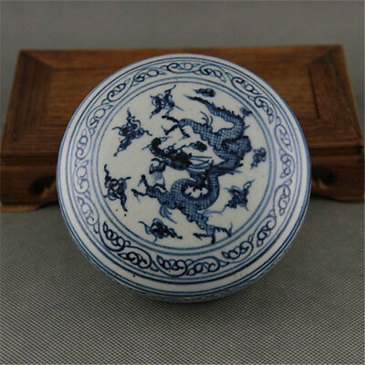 Chinese Old Blue And White Dragon Pattern Porcelain Inkpad Box