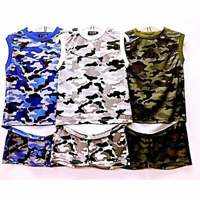Boys T-Shirts & Shorts Set Army Military Camouflage Kids Clothes Ages 4-14 Years