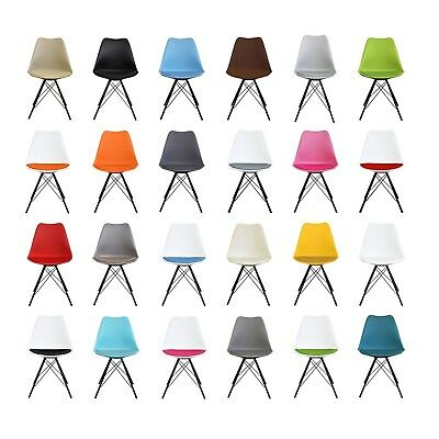 DSR Tulip Style Plastic Side Dining Chair with Chrome or Black Metal Legs Retro!