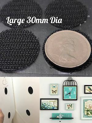 30MM Hook and Loop Fastening Dots Self adhesive Coins Sticky Back Strong Glue