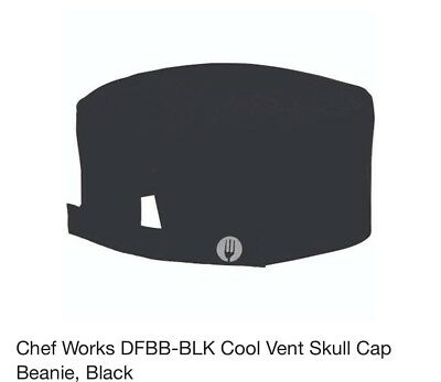 Chef Works Cool Vent Skull Cap Beanie DFBB-BLK, Black, New, Free Shipping.