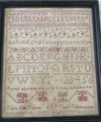 Antique Sampler Framed 1848