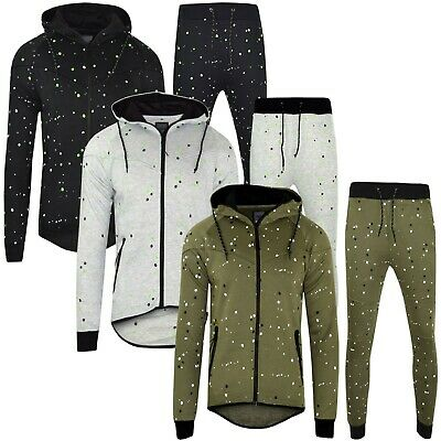 Boys Skinny Slim Fit Kids Spot Smudges Tracksuit Fleece Jogging Bottom Hoodie