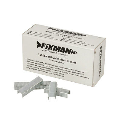 Fixman 10J Galvanised Staples 5000pk 11.2 x 8 x 1.17mm | 470282
