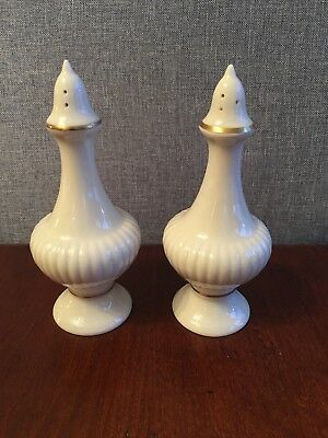 Lenox Ivory Color with Gold Trim Salt and Pepper Shakers Very Elegant